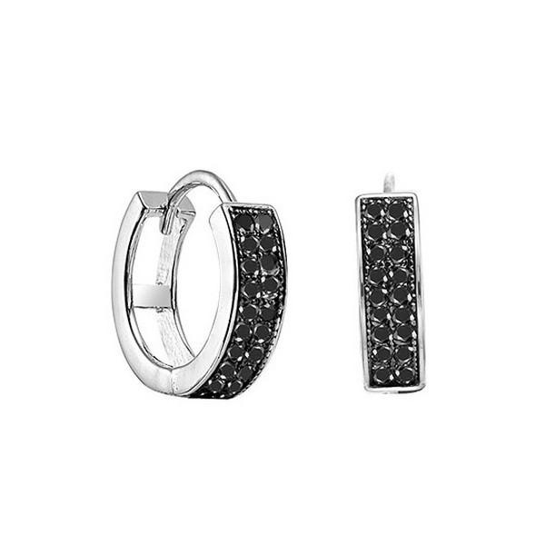 Blue Diamond Double Row Huggie Earrings In Sterling Silver (1/5 Ctw)
