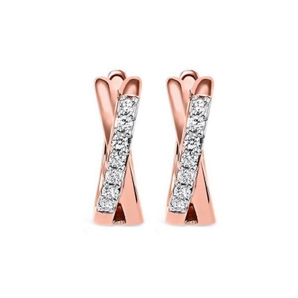 Diamond X-Shaped Hugs Huggie Hoop Earrings In Rose Gold (1/6 Ctw)