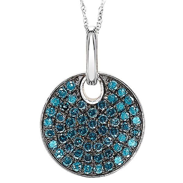 Fancy Blue Diamond Medallion Disc Pendant In Sterling Silver (1/2 Ctw)