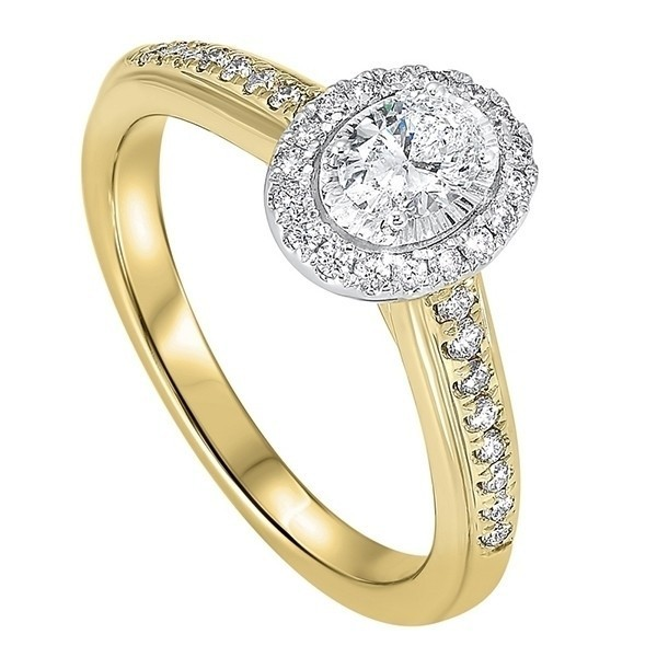 Diamond Oval Halo Antique Promise Ring In 14k Two-Tone Gold (1/2 Ctw)