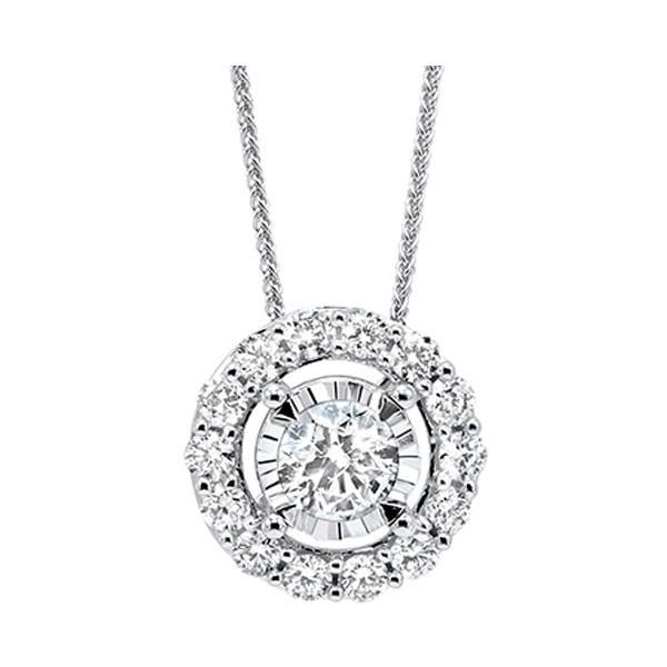Diamond Halo Solitaire Starburst Pendant Necklace In 14k White Gold (1/10ctw)