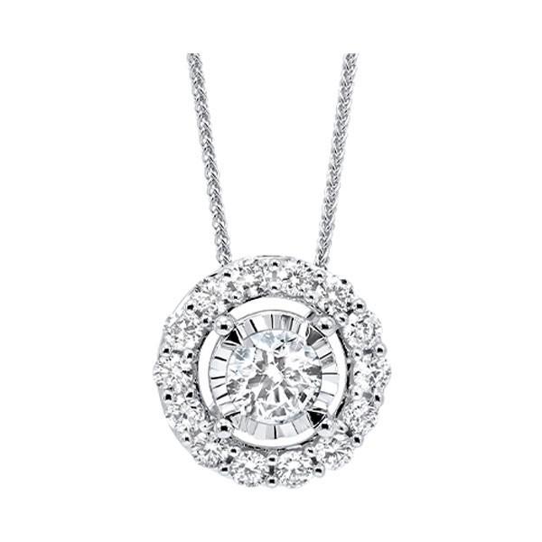 Diamond Halo Solitaire Starburst Pendant Necklace In 14k White Gold (1/4ctw)