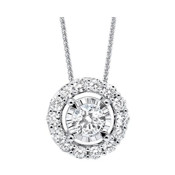 Diamond Halo Solitaire Starburst Pendant Necklace In 14k White Gold (3/4ctw)