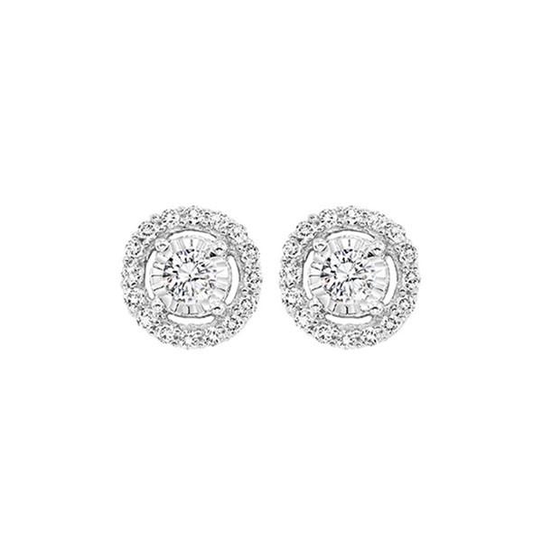 Diamond Solitaire Starburst Stud Earrings In 14k White Gold (1/7ctw)