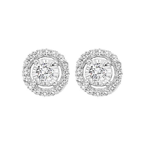 Diamond Solitaire Starburst Stud Earrings In 14k White Gold (3/4ctw)
