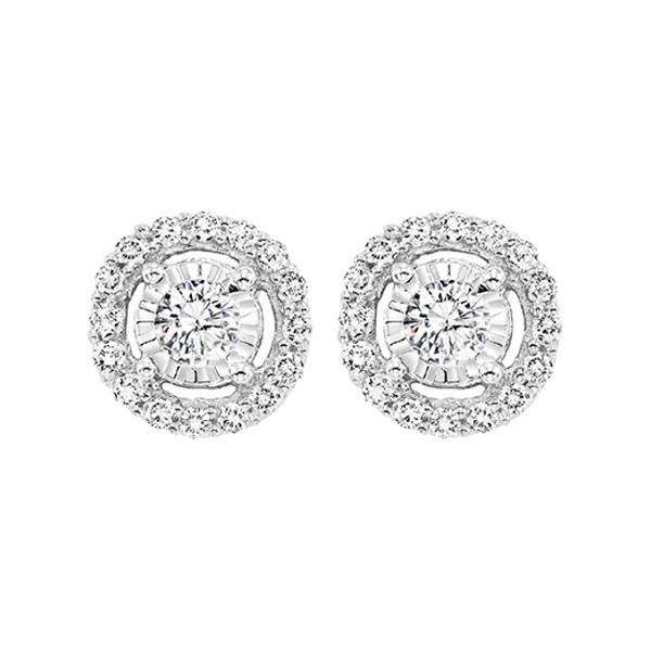 Diamond Solitaire Starburst Stud Earrings In 14k White Gold (1ctw)