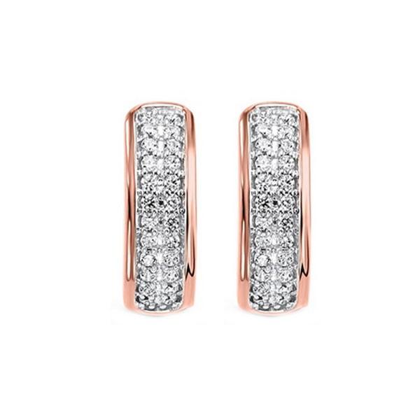 Diamond Double Row Hoop Earrings In 14k Rose Gold (1/4 Ctw)