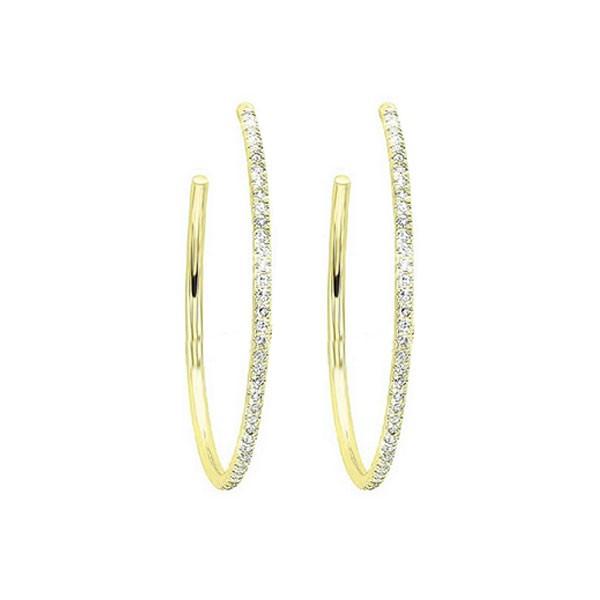 Diamond Ultra-Slim Hoop Earrings In 14k Yellow Gold (1/20ctw)