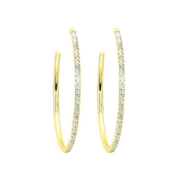 Diamond Ultra-Slim Hoop Earrings In 14k Yellow Gold (1/8ctw)