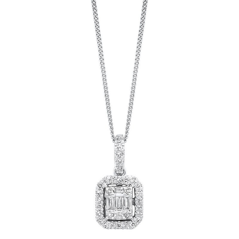 Diamond Rectangular Halo Drop Pendant Necklace In 14k White Gold (1/7ctw)