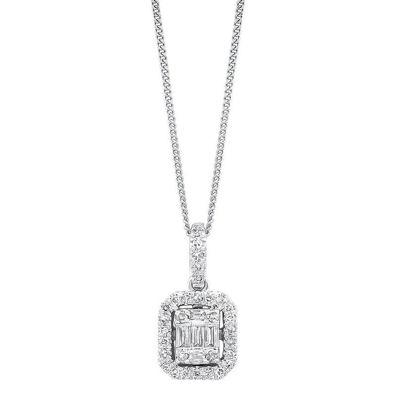 Diamond Rectangular Halo Drop Pendant Necklace In 14k White Gold (1/4ctw)