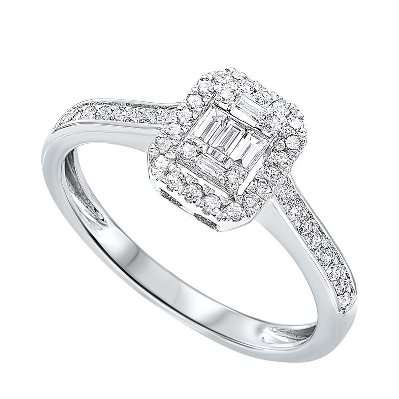 Diamond Rectangular Halo Ring In 14k White Gold (1/10ctw)