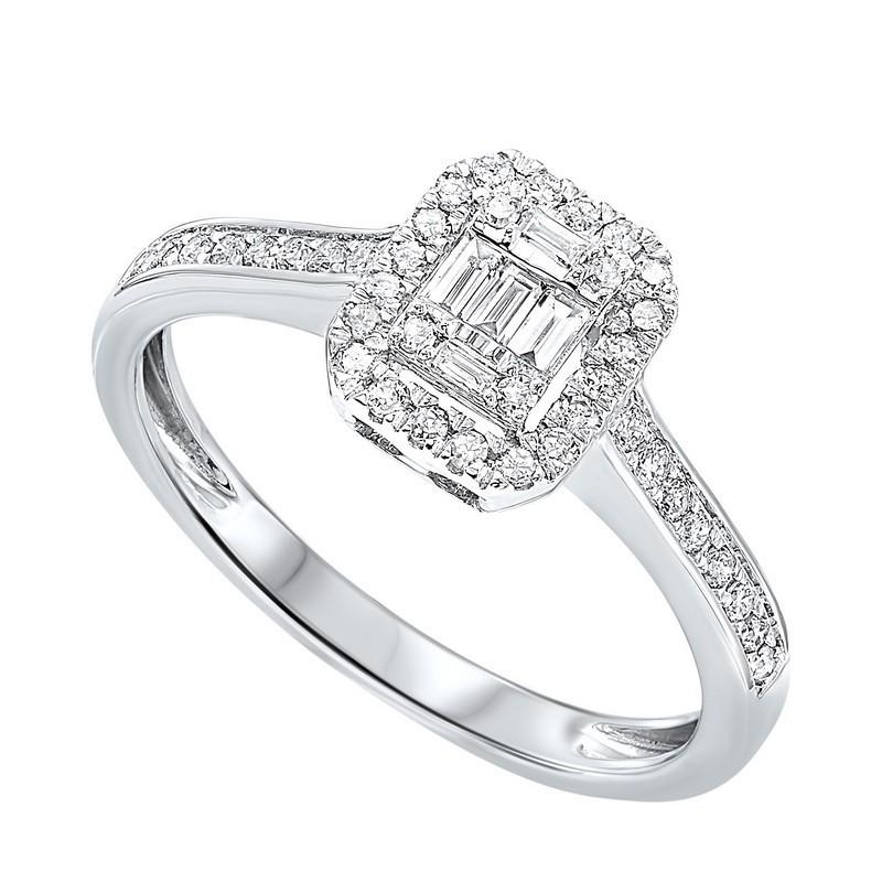 Diamond Rectangular Halo Ring In 14k White Gold (1/7ctw)