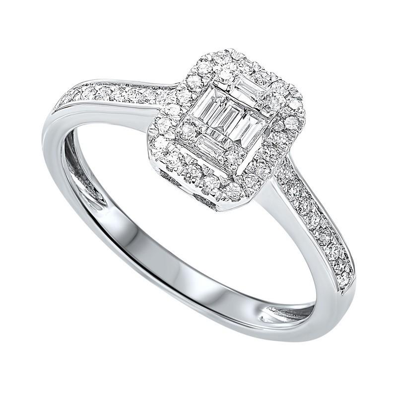 Diamond Rectangular Halo Ring In 14k White Gold (1/2ctw)