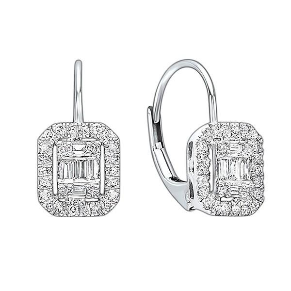 Diamond Rectangular Halo Earrings In 14k White Gold (1/5ctw)
