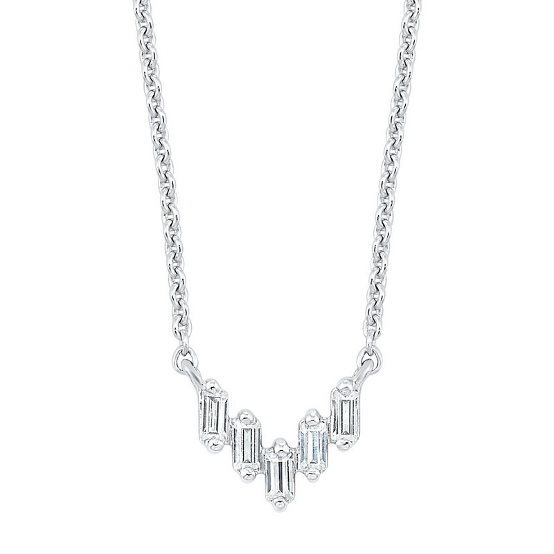Diamond Baguette Icicle Chevron Necklace In 14k White Gold (1/10ctw)