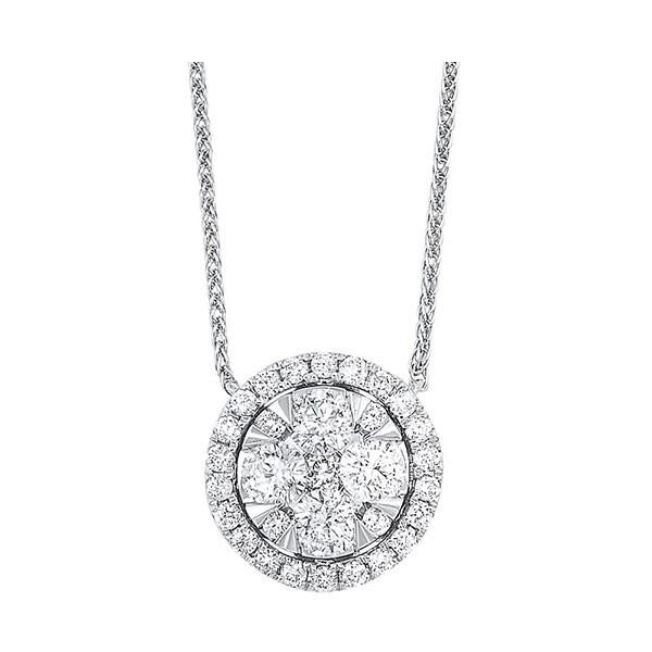 Diamond Starburst Eternity Circle Cluster Pendant Necklace In 14k White Gold (1/4 Ctw)