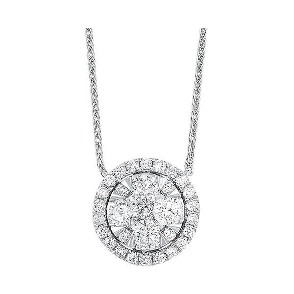 Diamond Starburst Eternity Circle Cluster Pendant Necklace In 14k White Gold (1/3 Ctw)