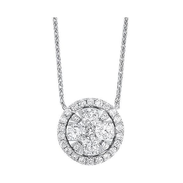 Diamond Starburst Eternity Circle Cluster Pendant Necklace In 14k White Gold (1/2 Ctw)