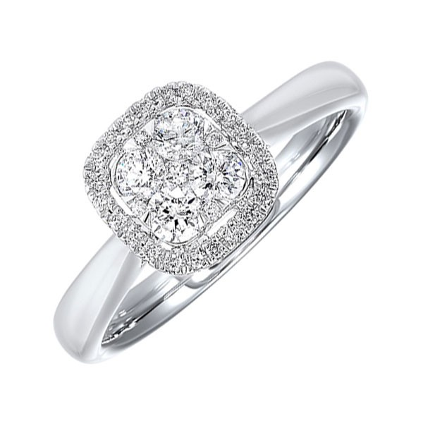 Diamond Halo Cluster Cushion Ring In 14k White Gold (1/3 Ctw)