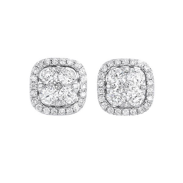 Diamond Cushion Halo Cluster Stud Earrings In 14k White Gold (3/4 Ctw)