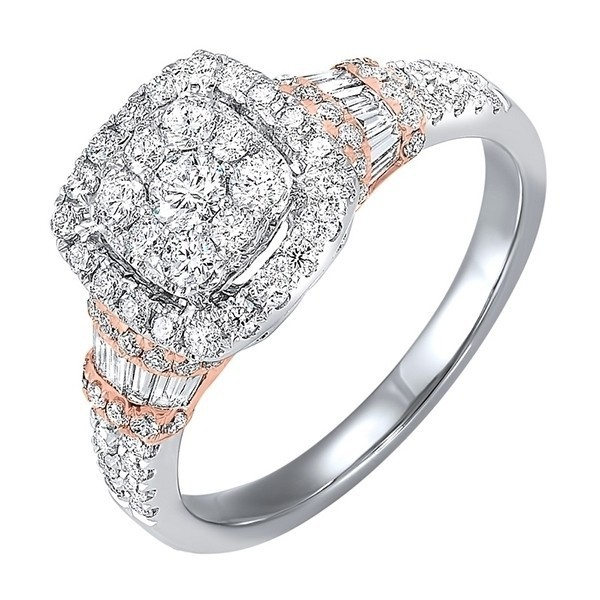 Diamond Halo Cushion Cluster Anniversary Ring In 14k Two-Tone Gold (2 Ctw)