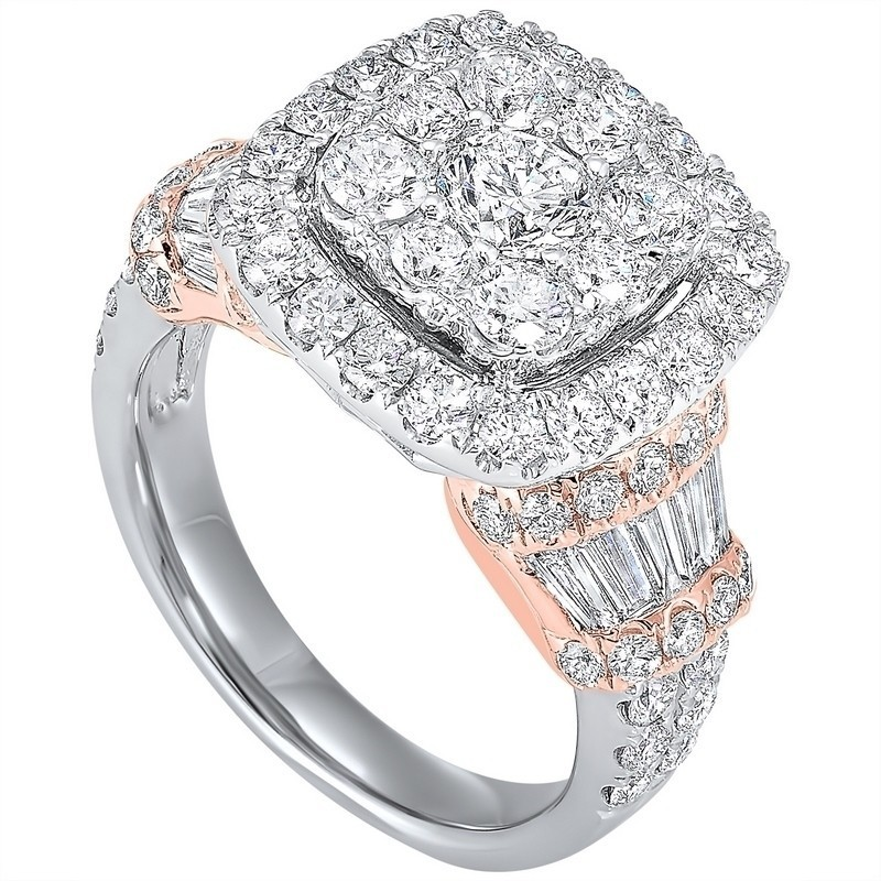 Diamond Halo Cushion Cluster Anniversary Ring In 14k Two-Tone Gold (3 Ctw)