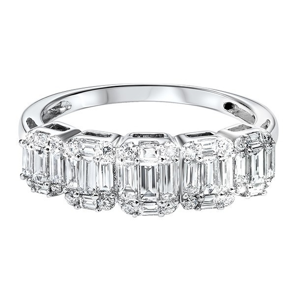 Diamond ? Eternity Baguette Stackable Wedding Band In 14k White Gold (1 Ctw)