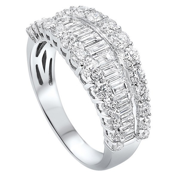 Diamond ? Eternity Baguette Tapered Stackable Wedding Band In 14k White Gold (1 Ctw)