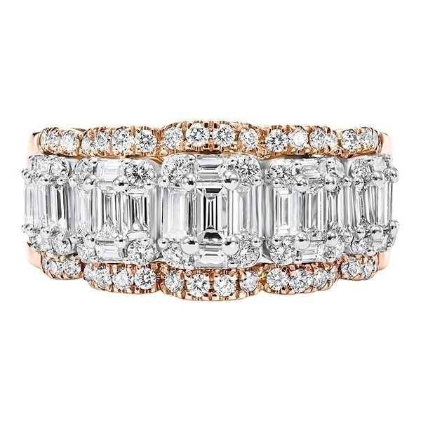 Diamond Baguette Dimensional Wave Stackable Wedding Band In 14k Yellow Gold (1 5/8 Ctw)