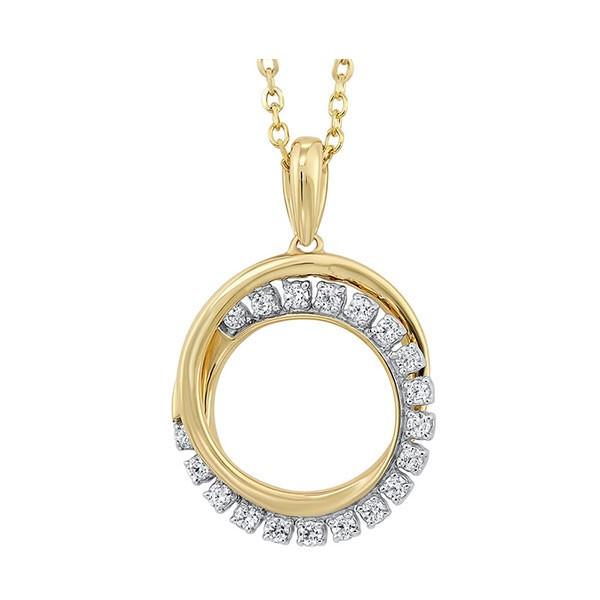 Diamond Double Eternity Circle Pendant Necklace In 14k Yellow Gold (1/10 Ctw)