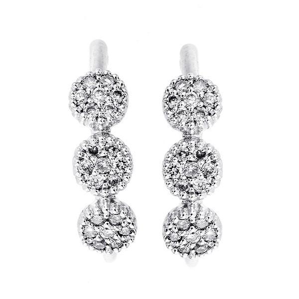 Diamond Triple Halo Cluster Earrings In 14k White Gold (1/8 Ctw)
