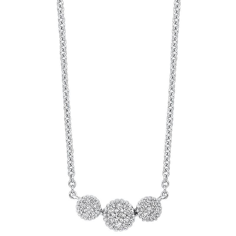 Diamond Triple Halo Cluster Pendant Necklace In 14k White Gold (1/10 Ctw)