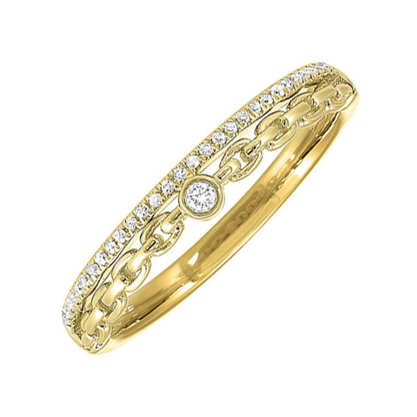Diamond ? Eternity Cable Chain Stackable Split Band In 14k Yellow Gold (1/10 Ctw)
