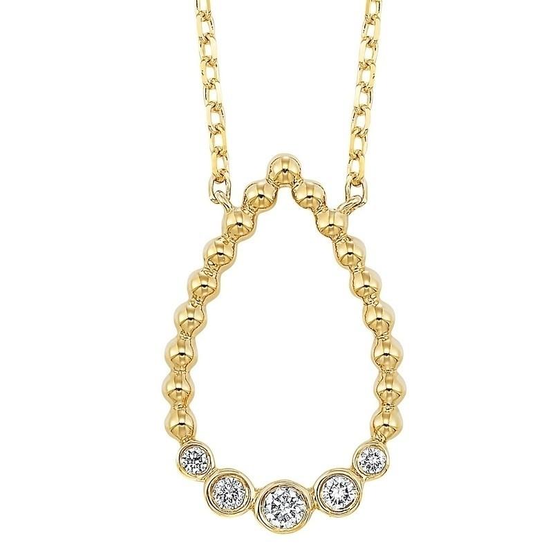Diamond Teardrop Bead-Ball Pendant Necklace In 14k Yellow Gold (1/8 Ctw)
