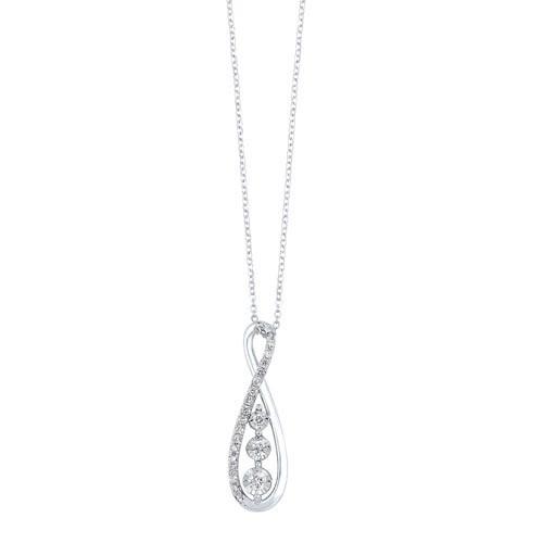 Diamond 3-Stone Journey Infinity Pendant Necklace In 14k White Gold (1/4 Ctw)
