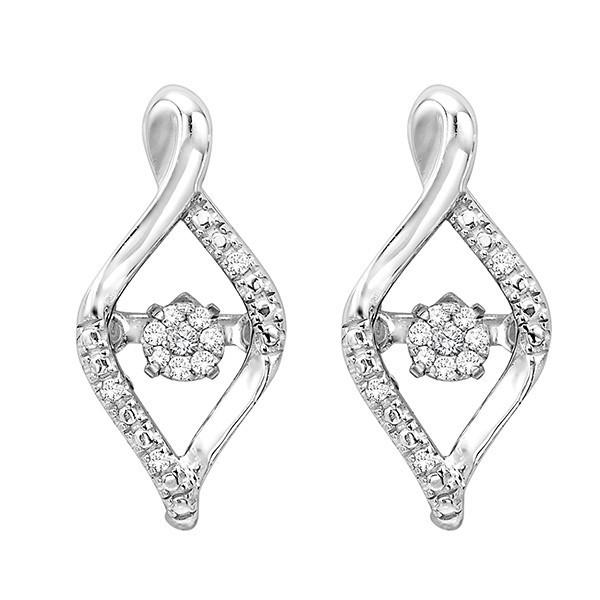 Diamond ROL Rhythm Of Love Modern Infinity Cluster Earrings In Sterling Silver