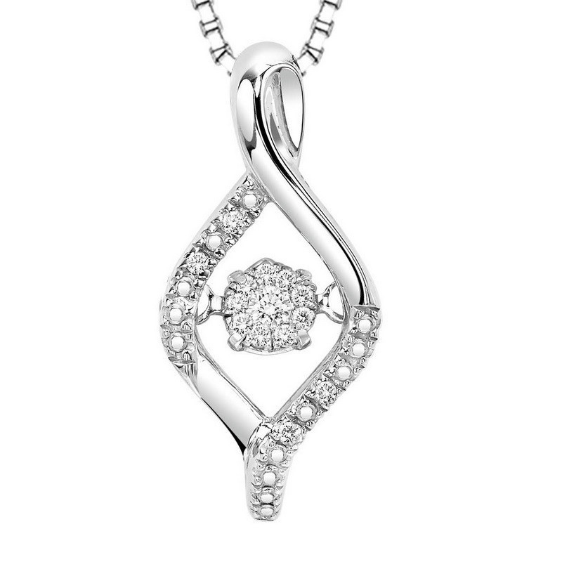 Diamond ROL Rhythm Of Love Modern Infinity Cluster Pendant In Sterling Silver
