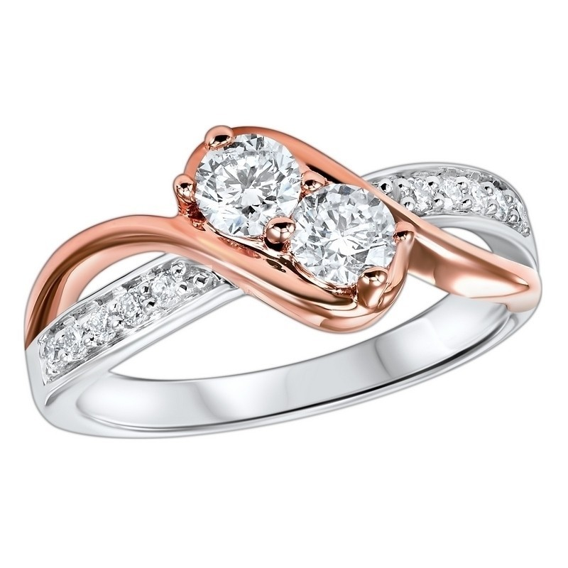 Diamond Anniversary 2-Stone Bypass Ring In 14k Two-Tone Gold (1/5 Ctw)