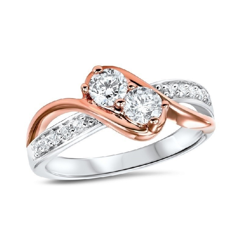 Diamond Anniversary 2-Stone Bypass Ring In 14k Two-Tone Gold (1/2 Ctw)