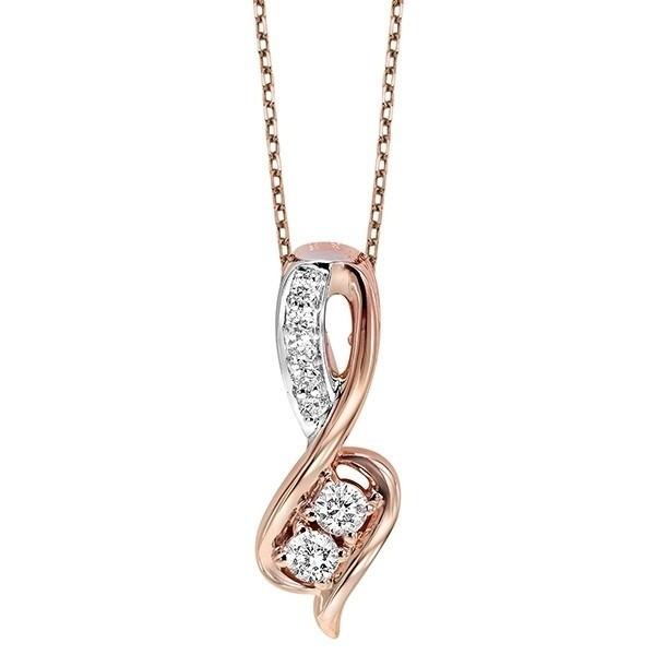 Diamond Anniversary 2-Stone Infinity Pendant Necklace In 14k Two-Tone Gold (1/2 Ctw)