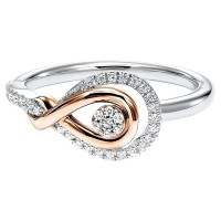 Diamond Swirling Cluster Love Knot Ring In 14k Yellow Gold & Sterling Silver (1/6 Ctw)