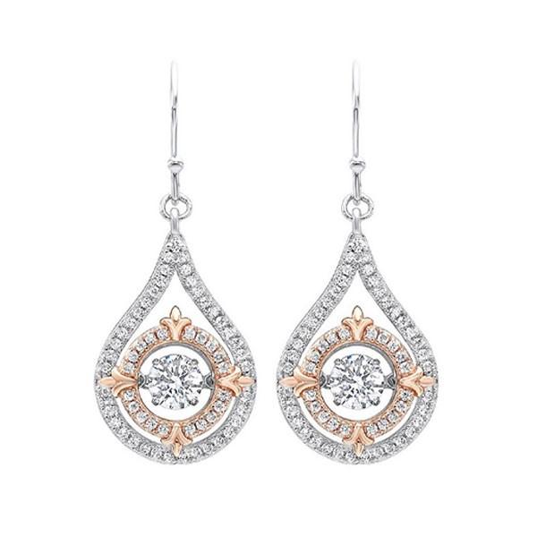 Solitaire Double Halo Fleur-de-Lis Dangle CZ Earrings In Sterling Silver