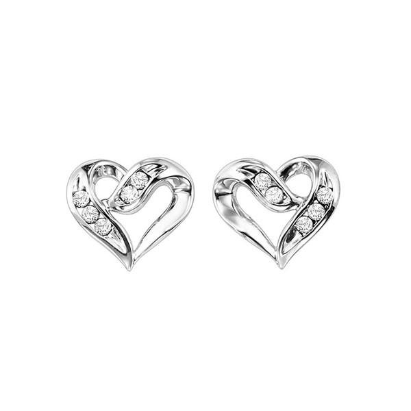 Diamond Open Ribbon Heart Stud Earrings In Sterling Silver