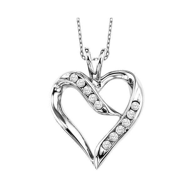 Diamond Open Ribbon Heart Pendant In Sterling Silver