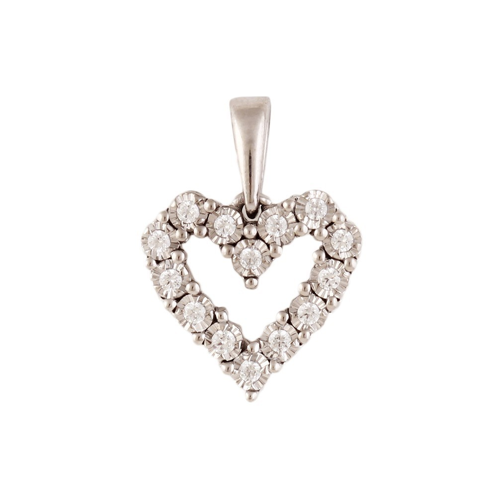 Diamond Heart Pendant In Sterling Silver (1/10 Ct Tw.)
