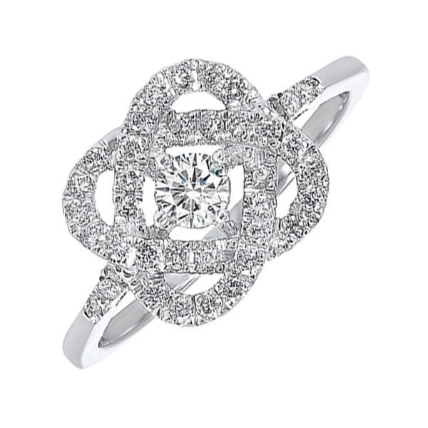 Diamond Infinity Love Heart Knot Promise Ring In 14k White Gold (3/4 Ctw)