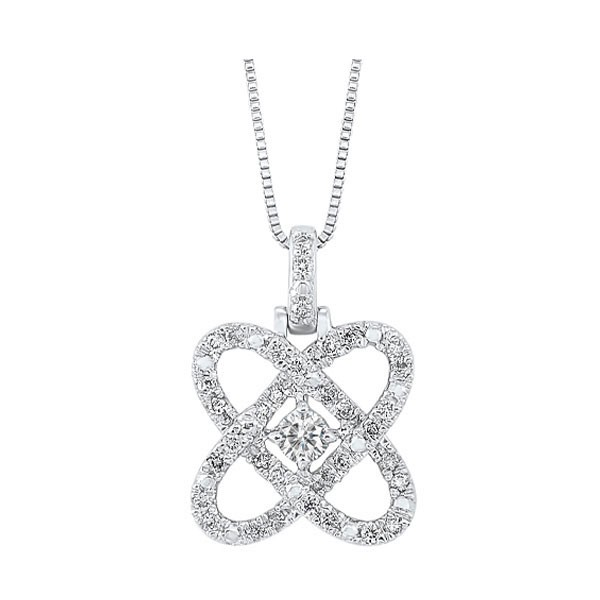 Diamond Infinity Love Heart Knot Pendant Necklace In 14k White Gold (2 Ctw)