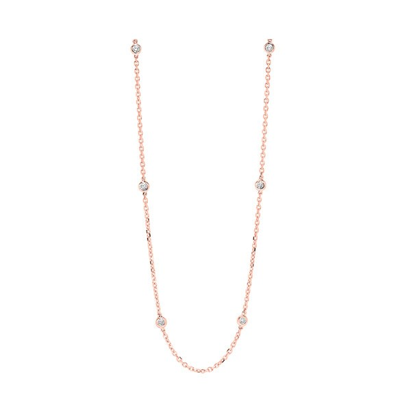 Diamond Station Necklace In 14K Rose Gold (1/2 Ctw)