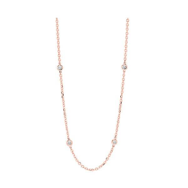 Diamond Station Necklace In 14K Rose Gold (1 1/2 Ctw)